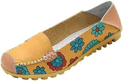 8beac6690d2566 Maybest Women Bright Color Casual Flower Printed Slip On Leather Flat Pumps  Moccasins Dancing Shoes