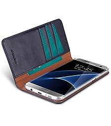 Melkco Italian Cowhide Leather Herman Series Book Style Case for Samsung Galaxy S7 Edge (Italian Blue)