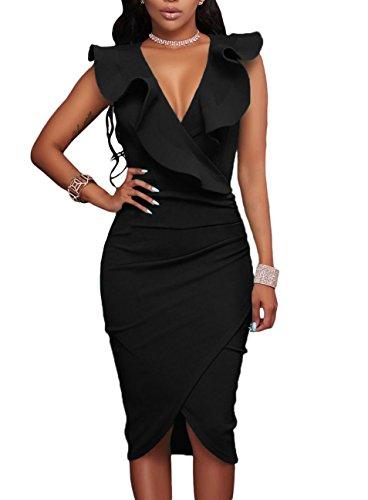 made2envy Ruffle V Neck Bodycon Midi Dress (M, Black) - Peplum Sequin