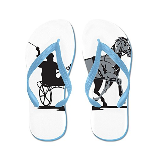Cafepress Horse And Jockey Harness Racing - Chanclas, Sandalias Thong Divertidas, Sandalias De Playa Caribbean Blue