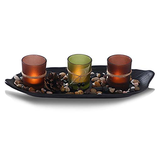 CHICVIE Candle Holder DIY Tea Light Candlescape Set 13.4 Long with Ornamental Polished Stones, Decorative Tray Great Centerpieces for Dining Table and Living Room (CH-V002)