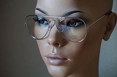 Aviator GOLD STAR Retro Vintage Top Gun Clear Lens Eyeglasses Silver