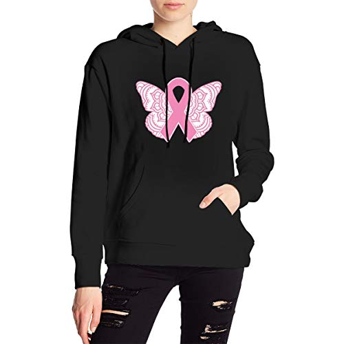 Breast Cancer Awareness Ribbon Butterfly Hoodies Sweatshirts for Women Black Workout Hoodie for Women