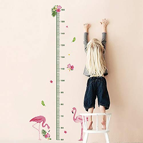 (decalmile Flamingo Height Chart Wall Stickers Kids Measure Growth Wall Decals Baby Nursery Room Girls Bedroom Wall Decor)