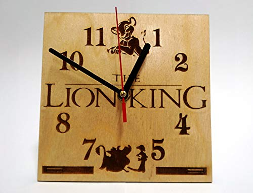 CAKE TOPPERS COMPANY Lion King Handmade Wooden Desk Clock 6.7 inches / 17cm - Best Kids Bedroom Decor - Gift for Kids - Lion King Table Clock