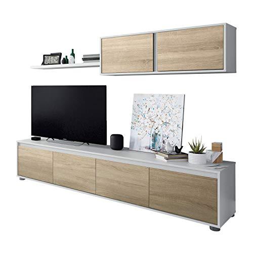 Habitdesign 0F6663A - Mueble de salon Moderno, modulos Comedor Alida, Acabado en Color Blanco Artik y Roble Canadian, Medidas: 43 x 200 x 41 cm de Fondo