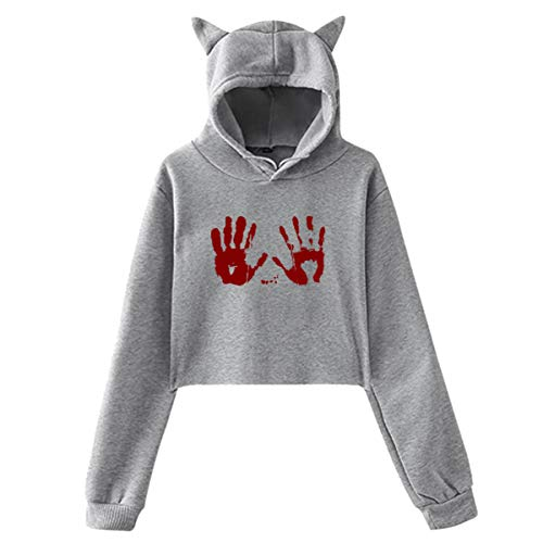 (ZHIYANG Halloween Blood Handprint Women Long Sleeve Cat Ears Crop Top Hoodies Cute Graphic Loose Cat Ears Pullover)