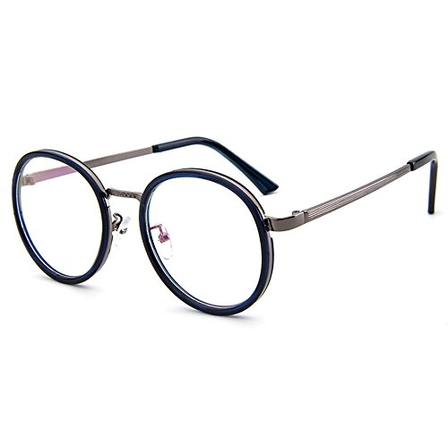 Blue Bold Lens Plain With Vintage Clear Forepin Oversized Frame ...
