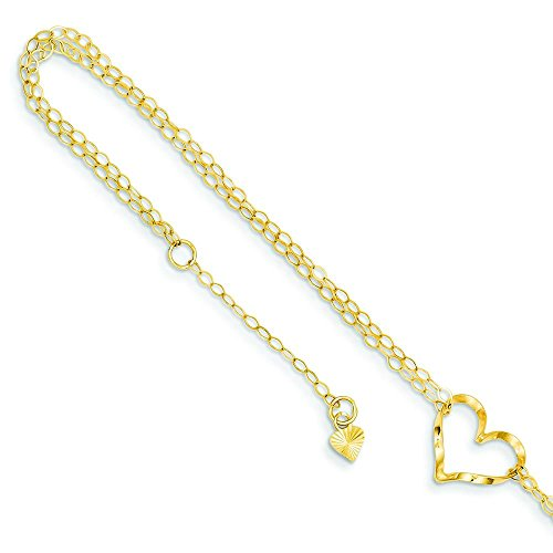 - 14K Gold Double Strand Heart Anklet Jewelry 9