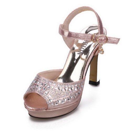 WeenFashion Womens Open Peep Toe Fiber High Heel Platform Micro Fiber Toe Solid Sandals with Glass Diamond, Pink, 4.5 B(... B00KJ5TMRI Parent b6e4bc