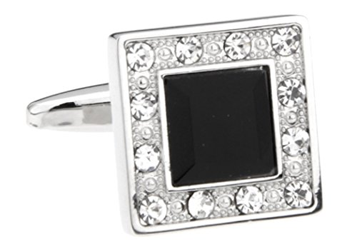 MRCUFF Black Crystal Square Round Crystals Pair Cufflinks in Presentation Gift Box & Polishing Cloth