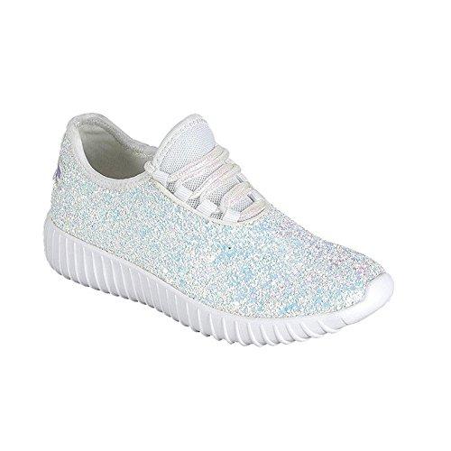 Link Lace up Rock Glitter Fashion Sneaker for Children/Girl/Kids White -