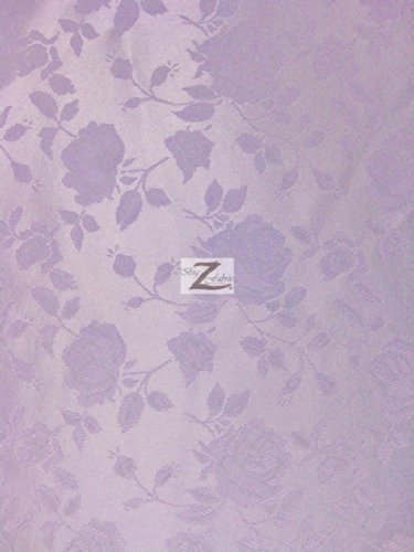 "FLORAL ROSE JACQUARD SATIN FABRIC - Lavender - 60"" WIDTH SOLD BY THE YARD"
