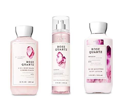 Bath and Body Works - Signature Collection - Rose Quartz -2-in-1 Body Wash & Bubble Bath, Fine Fragrance Mist & Body Lotion - Summer Daily Trio - 2019