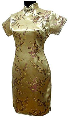 CK sky Women's Satin Polyester Cheong-sam Mini Qipao Evening Dress 5X-Large Gold