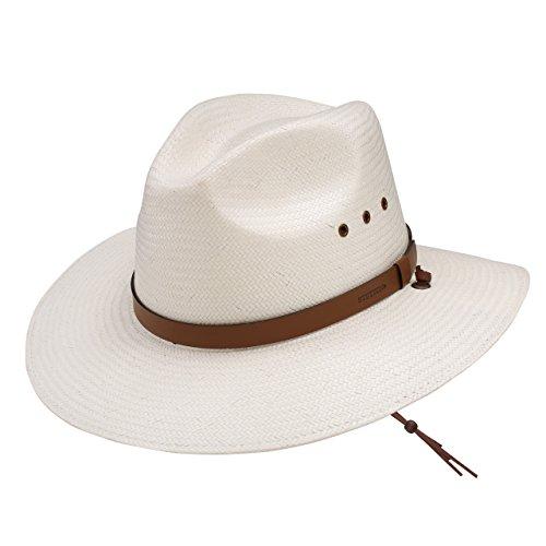 White Toyo Straw (Stetson & Dobbs OSLAMS-3830 Men's Los Alamos Toyo Straw Hat, Natural - M )