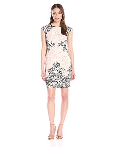 Maggy London Women's Scroll Lace Scuba Sheath Dress, White Coral, 8