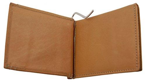 NB24 Versand Herren Geldbörse (2601), Echtes Leder, mit Geldklammer, hellbraun