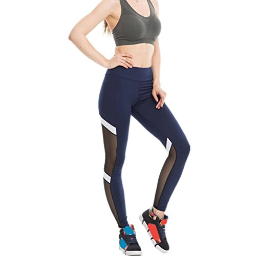 Ecurson Women Fitness Sport Leggings Sexy Mesh Patchwork High Waist Slim Yoga Pants (L, Navy)