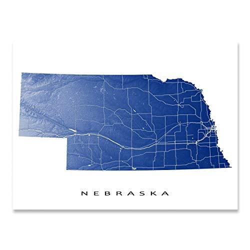 Nebraska Map Print, NE State Art, USA ()