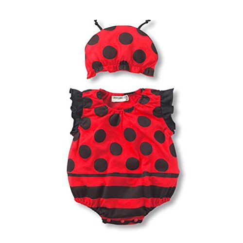 AIKSSOO 2pcs Infant Toddle Baby Unisex Outfit Set Sleeveless Onesies + Cap Size 2-6Months (Red Ladybug)