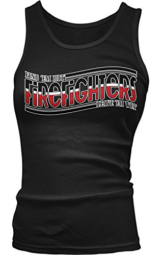 Junior Firefighter Badge (Amdesco Junior's Firefighters, Find 'em Hot, Leave 'em Wet Tank Top, Black XL)