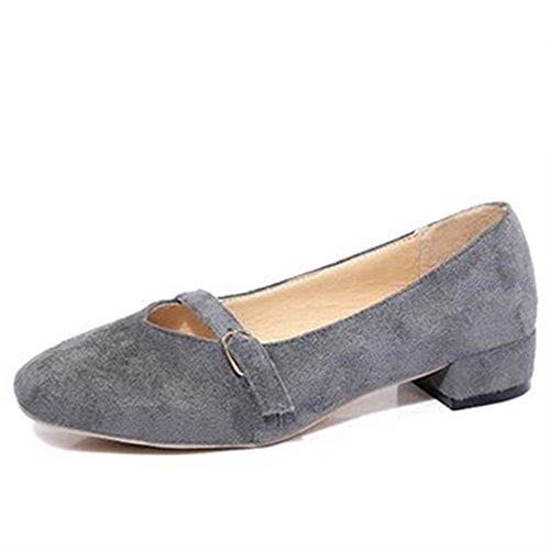 Vintage grueso zapatos de tacón zapatos de Inglaterra en la primavera/zapatos de hebilla de la correa/Luz fija del pie zapatos/Joker redondo zapato cabeza B