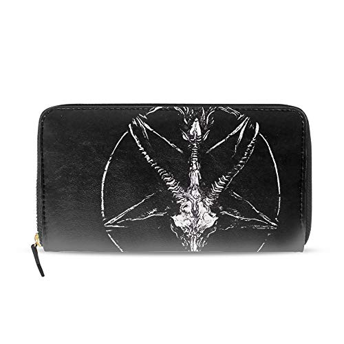 (Zip Around Women Organizer Wallet PU Clutch Long Purse,Pentagram)