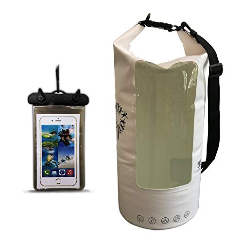 Dandelion Waterproof Dry Bag - Roll Top Dry Compression Sack Keeps Gear Dry for Kayaking, Beach, Rafting, Boating, Hiking, Camping and Fishing with Waterproof Phone Case Orange 20L ()