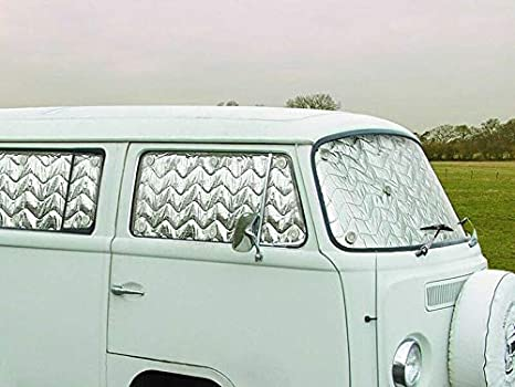 Just Kampers Bay Window Thermal Silver Screen Blind Mat 8 Piece Internal Kit Compatible with VW T2 1967-1979