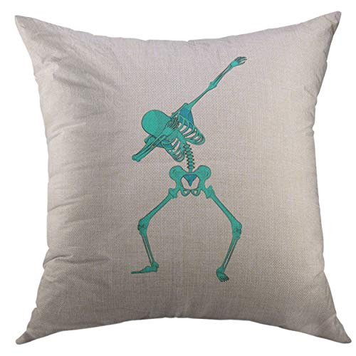 Mugod Throw Pillow Cover Stock Green Skeleton Character Dancing Dab Step Fashionable Hip Hop Pose Meme for for Happy Halloween Home Decor Pillow case 18x18 Inch