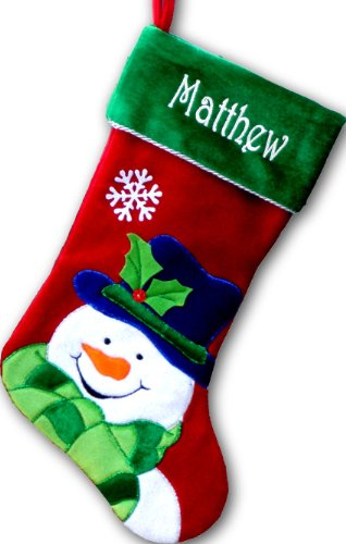 Monogrammed Stocking - Personalized Christmas Stockings - (Happy Snowman,