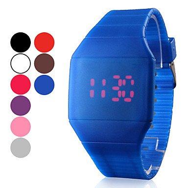 Sbsghdx® Reloj unisex correa de caucho color blanco, esfera digital LED rojo, correa de caucho () varios colores: Amazon.es: Relojes