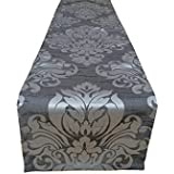 Stunning wedding/table/bed runners in silver grey damask faux silk Straight ends 75 (75) by Janelle Design