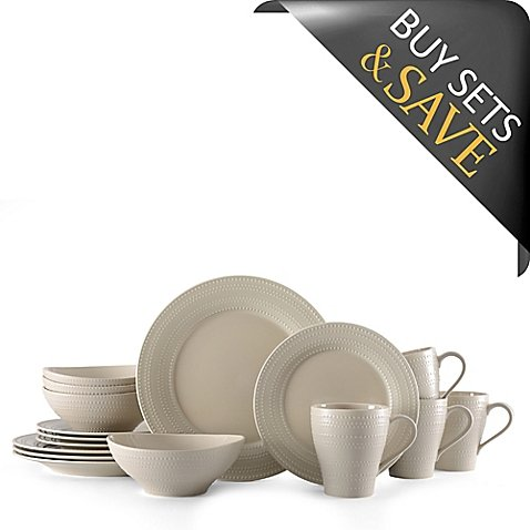 Dinnerware Set With A Delicate Beaded Embossed Design 16-Piece in Beige