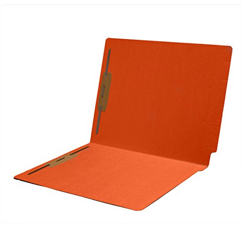 11 pt Color Folders, Full Cut 2-Ply End Tab, Letter Size, Fasteners Pos #1 & #3, Orange (Box of 50)