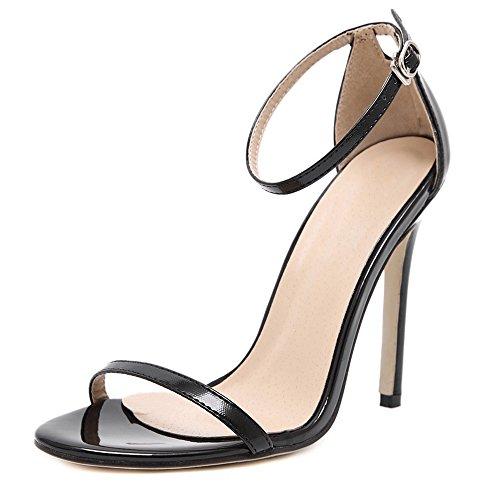 DULEE - Sandalias de vestir de piel para mujer negro