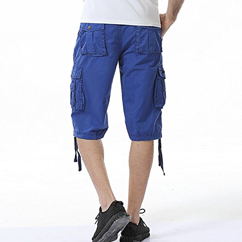 LOCALMODE Men's Casual Cotton Multi Pocket Twill Cargo Shorts Blue 36 by LOCALMODE (Image #2)