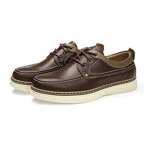 Sunrolan Darren Mens Oxfords Originali In Vera Pelle Lace-up Scarpe Abito Piatte Causale Marrone