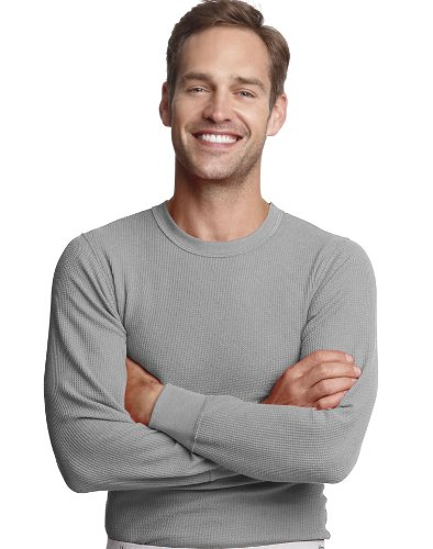 Hanes 25439 Mens X-Temp Thermal Crew - Heather Grey - M by Hanes