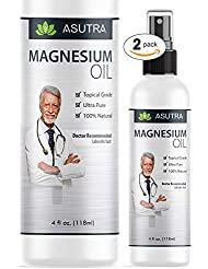 ASUTRA 2 Bottle Value Pack - Pure Zechstein Magnesium Oil Spray - LESS ITCH & LESS STING/Effective Rapid Transdermal Absorption + FREE Magnesium E-Book