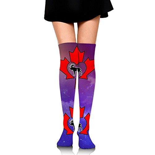 Canada Moose Maple Leaf Unisex Over Knee High Socks Extra Long Athletic Sport Tube - Aries Canada