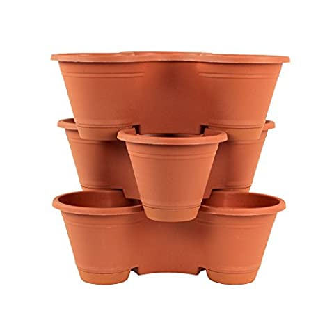 3 Tier Stackable Vertical Planter Mini Garden Herb Planter Indoor/Outdoor Use - Pepper Tower