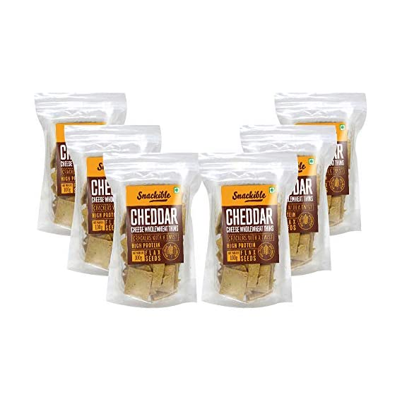 Snackible Cheddar Cheese Wholewheat Thins (Pack of 6) - 6x100gm