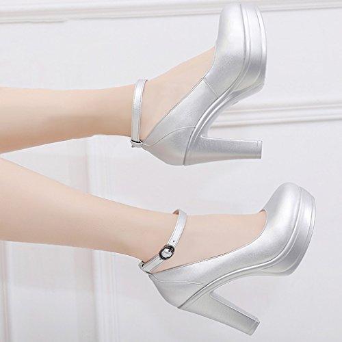 Shoes tête 35 avec wedding talons banquet Single Couleur femmes à taille des 8cm ronde chaussures long225mm High Silver Chaussures rugueuses pour 12cm shoes female High 7qRF1