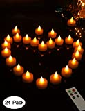 HOME MOST Set of 24 LED Realistic Bright Flickering Candles Remote Flameless LED Tea Light Seasonal & Festival Celebration & Votive Ivory Tealight Candles Battery Operated