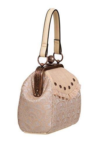 interdits Steampunk style victorien dentelle élégant sac sac à main crème