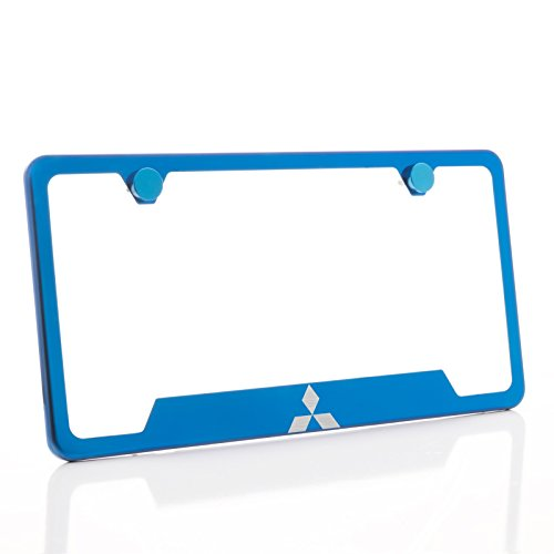 KA Depot One Mitsubishi Logo on Candy Blue Chrome Bottom Cut Out Stainless Steel License Plate Frame Holder Front Or Rear Bracket Laser Etch Engraved Aluminum Screw Cap