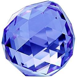 HONGVILLE Fancy Crystal Ball Prisms Pendant Feng Shui Sun Catcher for Holiday Decorating Hanging, 30mm, Light Blue