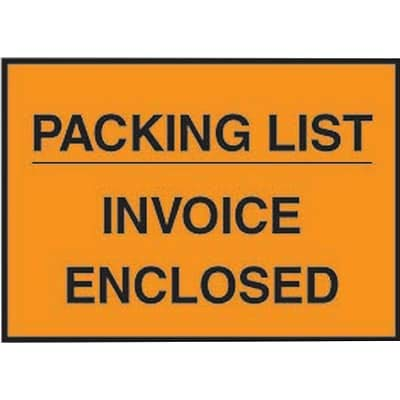 Packing List Envelopes, 4-1/2 x 5-1/2, Orange Full Face Packing List/Invoice Enclosed - 1000/Carton (4 Cartons)